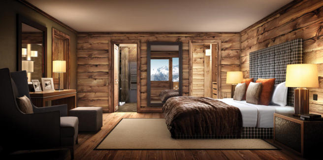 Bedroom ensuite bathroom master wood floor Rosalp Residences Verbier