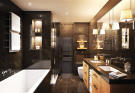 Bathroom marble twin sink bath tub Rosalp Residences Verbier