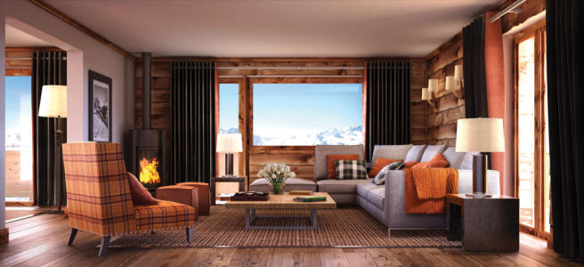 Living room wood floor balcony doors Rosalp Residences Verbier