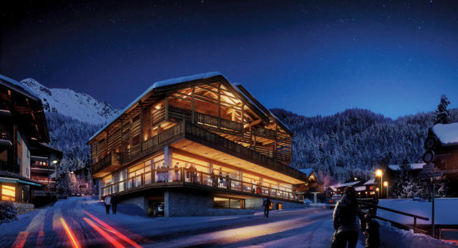 Facade night Rosalp Residences Verbier