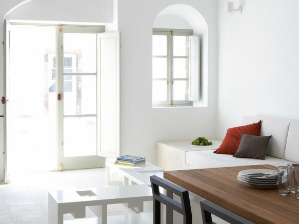 Living room dining room open plan Villa Fabrica Santorini