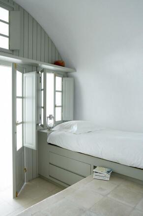 Bedroom french doors Villa Fabrica Santorini