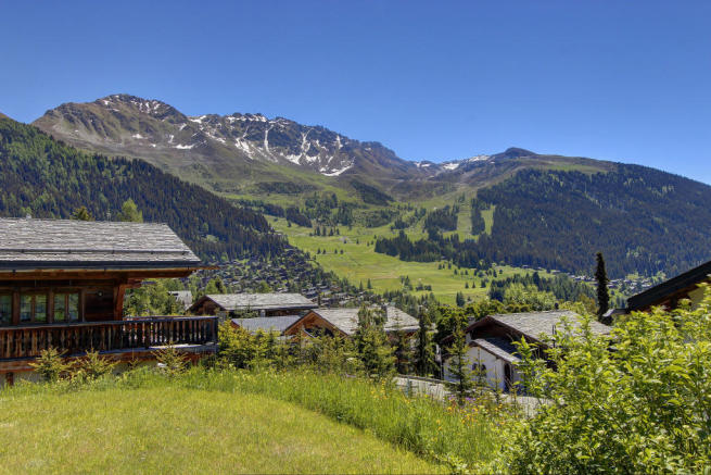 Panoramic mountain views from Chalet Lievre in Verbier during the summer
