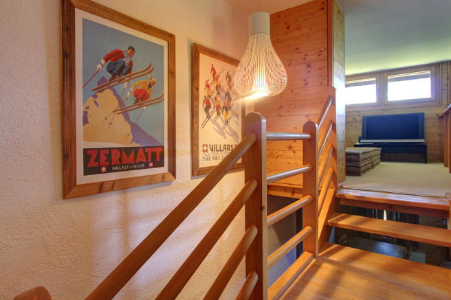 Landing and staircase at Chalet Lievre in Verbier