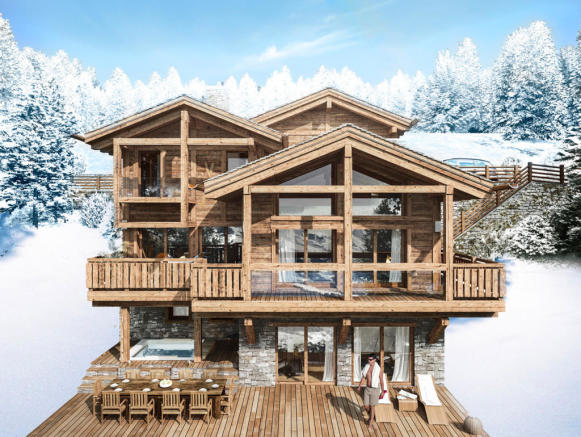 CGI exterior facade of Chalet Cocoon in winter
