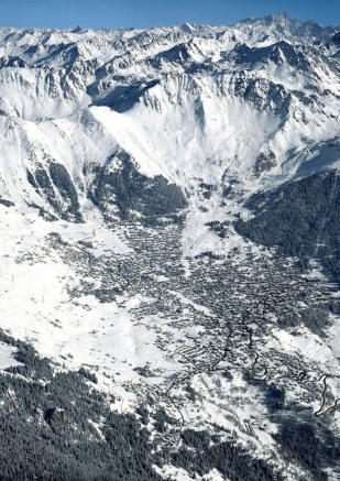 Aerial view of Verbier and mountains