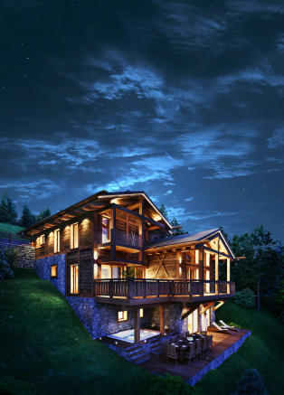 CGI exterior facade of Chalet Cocoon at night
