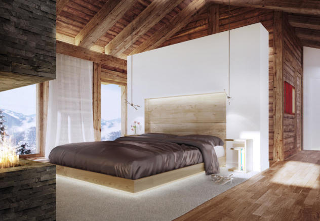 CGI of master bedroom at Chalet Cocoon