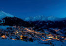 View over Verbier and mountains at night