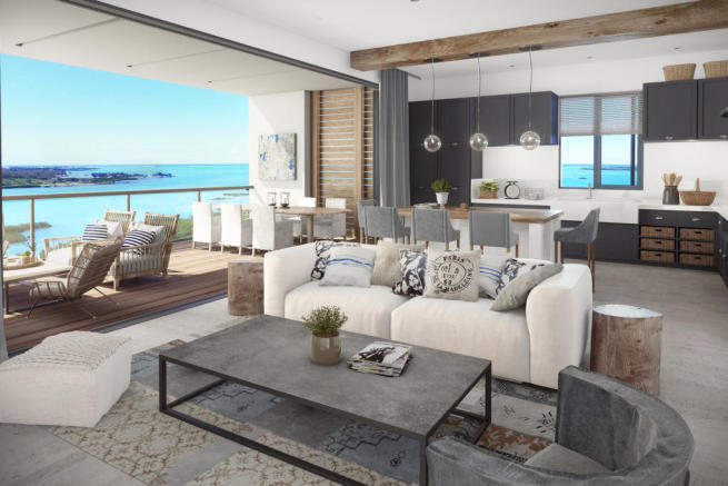 CGI of open plan living room, kitchen and balcony at St Antoine Mauritius