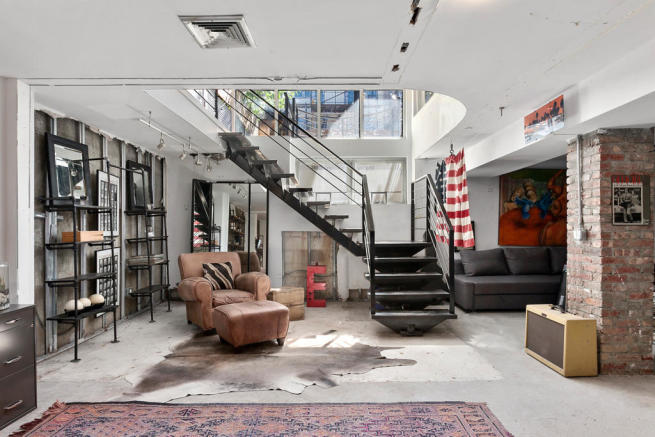 Basement level with stairwell at 550 Grand Street in Brooklyn, New York