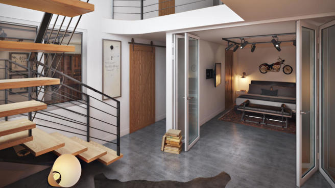 Rendering of basement level at 550 Grand Street in Brooklyn, New York