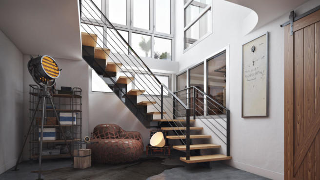 Basement rendering of stairwell at 550 Grand Street in Brooklyn, New York