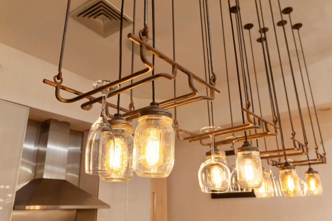 Light fixtures in kitchen at 550 Grand Street in Brooklyn, New York