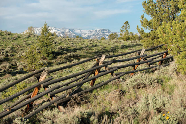 Traditional wood fence on ranch