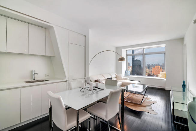 Kitchen, dining and living area at 123 Washington Street, Unit 36E