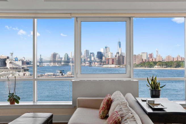 Window view from living room at 440 Kent Avenue in Brooklyn, New York