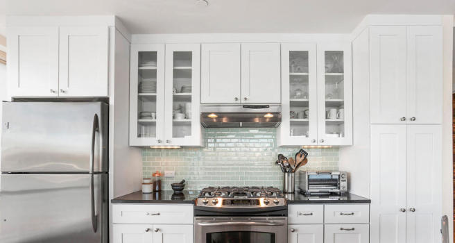 Kitchen and cooking area at 440 Kent Avenue in Brooklyn, New York