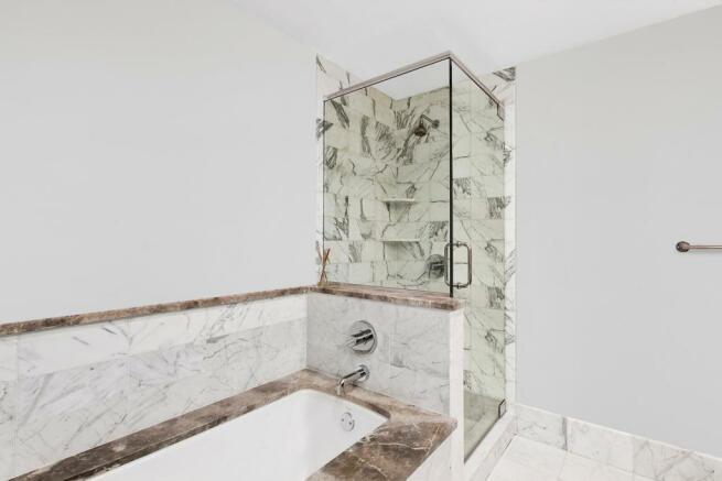 Master bathroom at 440 Kent Avenue in Brooklyn, New York
