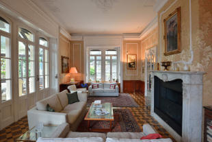 Living room fireplace tiled floor cornicing Villa on Lake Como The Lakes Italy