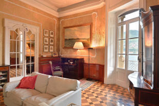 Living room tiled floor cornicing french doors Villa on Lake Como The Lakes Italy