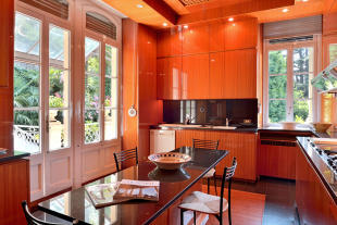 Kitchen dining room tiles french doors open plan Villa on Lake Como The Lakes Italy