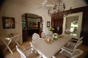 Dining room chandelier marble floor Monkey Business Barbados
