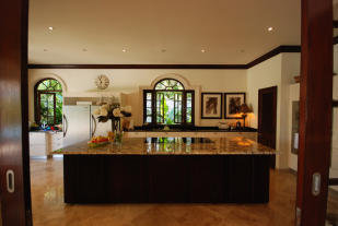 Kitchen large island breakfast bar marble floor Monkey Business Barbados