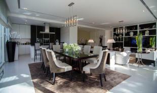 Kitchen dining room open plan marble Ashjar Al Barari Dubai