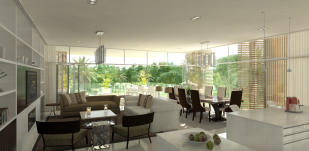 Living room dining open plan full height windows marble Ashjar Al Barari Dubai