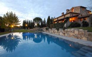 Rear facade swimming pool garden Tenuta Cipressino Tuscany