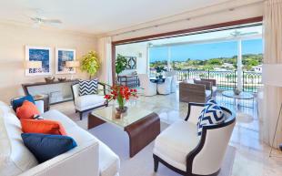 Covered balcony stone floor sliding doors living room Port Ferdinand Barbados