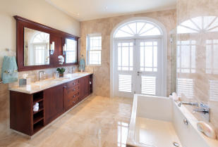 Bathroom marble floor bath tub twin sink Port Ferdinand Barbados