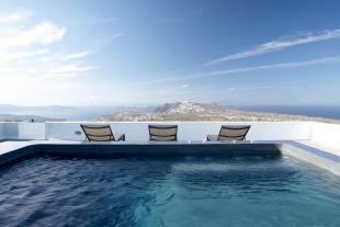 Swimming pool sun terrace ocean sea view Villa Fabrica Santorini