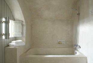 Bathroom stone bath tub shower Villa Fabrica Santorini