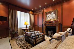 Sitting room bedroom fireplace The Penthouse Av de Pau Casals Barcelona