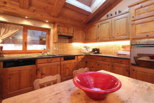 Kitchen dining room wood Le Clarmont Penthouse Verbier
