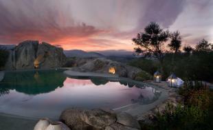 Sunset rock pool evening Villa Ross Sardinia