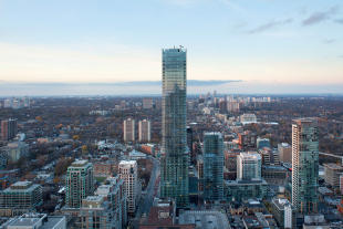 View of Four Seasons tower and cityscape in Toronto