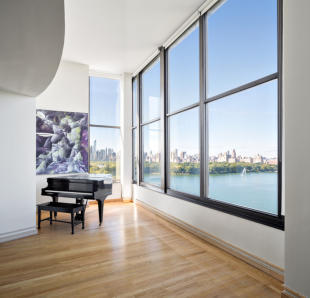 Living room wood floor piano city view Fifth Avenue New York