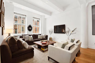 Living room wood floor Greenwich Street Apartment New York
