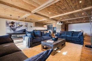 Living room kitchen open plan wood floor balcony doors Residence Alex Verbier