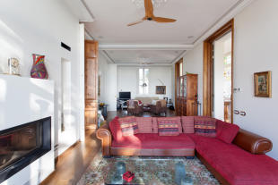 Living room dining fireplace Villa Paula Zona Alta Barcelona