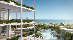 Swimming pool ocean sea view terrace outdoor dining area Fasano Shore Club South Beach Miami Florida