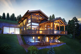 CGI exterior facade of Chalet Cocoon at dusk