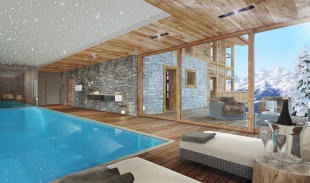 CGI internal pool area of Chalet Cocoon in winter