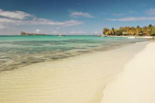 Beach and island near St Antoine Mauritius