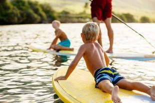 Kids having fun on surfboards