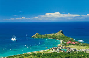 Aerial view of The Landings and Pigeon Island near Rodney Bay in St Lucia
