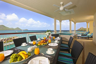 Expansive apartment terrace with Jacuzzi overlooking Rodney Bay at The Landings in St Lucia